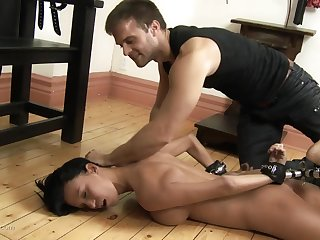 Hard messy deep throat and cum in excess of tits for a submissive overcast old bag