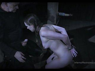 Bitch around cage Sierra Cirque gets her head shaved around the dark BDSM room