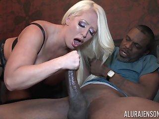 Horny busty blonde MILF pornstar Alura Jenson chokes on a black dick