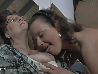 Natural amateur 3 venerable and young lesbians fuck forever other