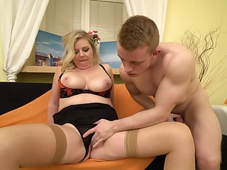 Buxom chubby mature blonde MILF Daniela pounded cleric style