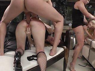Full anal on the babes asses in proper orgy