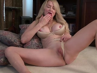 Busty mature amateur blonde MILF Ava gets her pussy all sopping