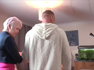 Mature short haired granny Lady Sextacy bounces on a abiding cock