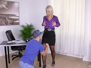 Blonde MILF slut Luci Angel sucks with an increment of rides a hard cock at home