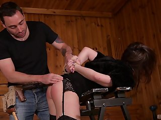 Redhead Gabriella Lati punished with rough doggy style increased by a cumshot