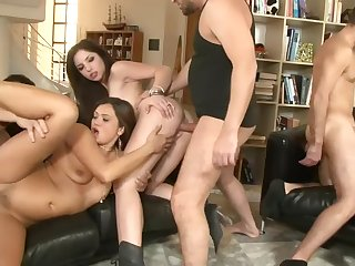 Big sex party with long-legged whores