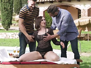 Mature brunette beauty Yasmin Scott pounded hard at the end of one's tether two guys not at home