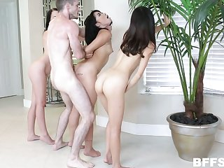 One serendipitous lady's man fucks three best girlfriends one after another