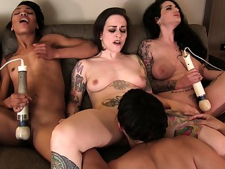 Sexy brunettes lick together with suck tongues together with fuck in group sex