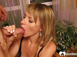 Interesting MILF sucking and eating cum