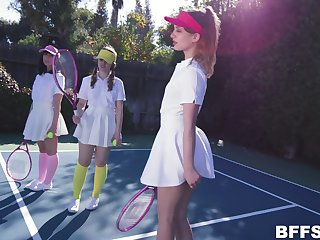 Daphne Dare plays tennis wide her side winning horny dude destroys their pussies