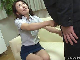 Japanese brunette MILF Mizuno Yuuka doggy fucked in lingerie