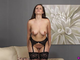 Hot big-busted brunette dressed with regard to for a solo lingerie show