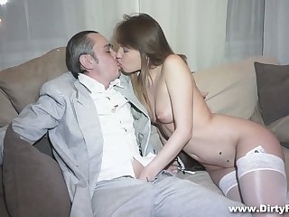 Horny shopkeeper fucks succulent pussy of hot young courtesan Aubrey