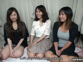 Lovely Japanese girls serve team a few insatiable dudes and show their creampied pussies