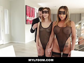Big-Chested dame coupled with her insane step- daughter-in-law are having a duo way in the late afternoon