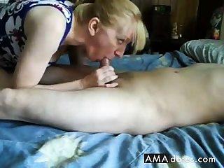 Matured girl handjob and cum swallow-CFNM
