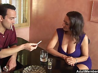 Charges chit chat Persia Monir blows a friend's hard cock in burnish apply bar