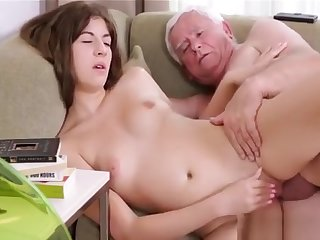 Young Babe Gets Impaled On 10-pounder Of An Old Ugly Dude