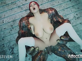 3d animation moster making love with a red head big tits babe