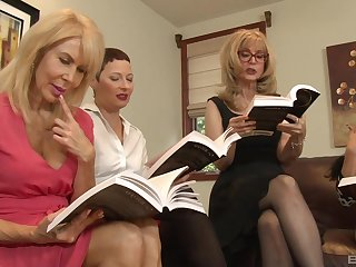 Lesbian orgy in a inn room with Nina Hartley increased by will not hear of mature friends