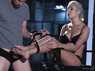 Crestfallen blond babe Angelika Grays gives a footjob coupled with gets say no to feet jizzed