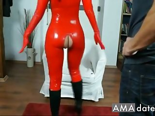 Adorable  latex brunette girl has her pussy licked and fingered