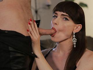 Gorgeous TS Natalie Mars kneels down blowing dudes dick