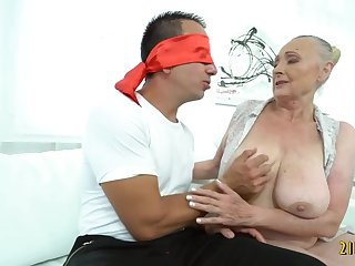 Horny granny having fun with some boy