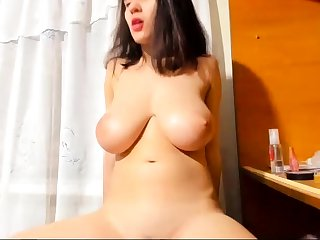 Bigboob brunette plays toys and orgasm adhere to sex webcam