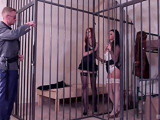 Slutty bitches Billie Star and Linda Sweet share a cop's load in jail