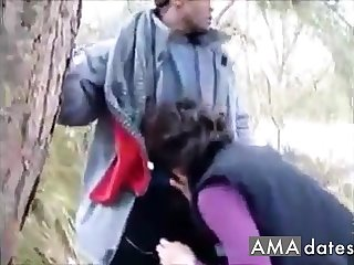 Sexy chick gets BBC Bred fro the woods!