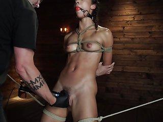 risky brunette Keira Alexis Tae enjoys hardcore sex space fully she hangs