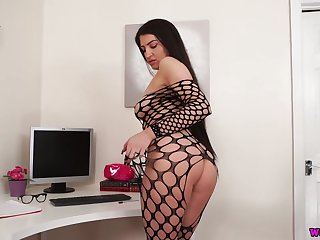 Office bitch surrounding ripped fishnet company stockings Joanna teases with her boobs and snatch