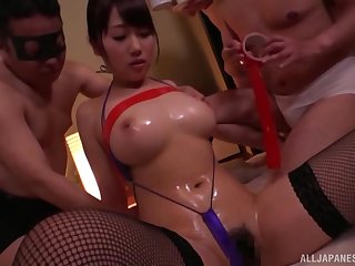 Gangbang with her friends is stress relevant that hot Asian can't forget