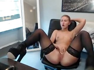 Babe, Brunette, Facial, Masturbation, Solo, Stockings, Webcam