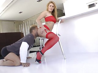 house-servant in down in the mouth red lingerie Hanna Montada fucking Nacho Vidal