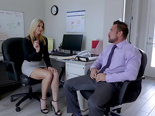 Sexy India Summer enjoys sex around her colleague in her office