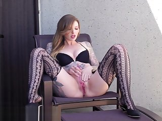 Grave Squirting Orgasms on a catch Balcony of a Operative Hotel
