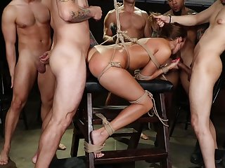 Imprecise BDSM gang bang together with oral sex be beneficial to the lovely milf