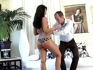 Teen with bad behavior Victoria gets spanked increased by punished by strict stepdad