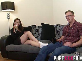 Having seduced nerdy clothes-horse Romanian nympho Lara Jade Deene enjoys riding cock