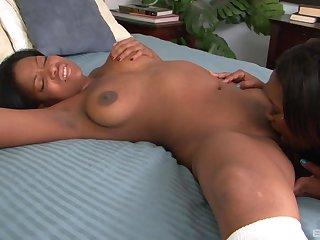 Kinky ebony lesbian sex in softcore