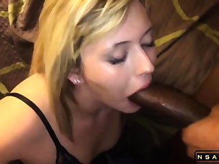 Attractive blonde milf takes a huge black cock about her indiscretion