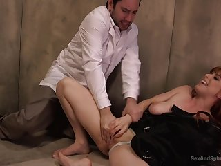 cadger fucks her shaved pussy hard together with gags the redhead with his sperm