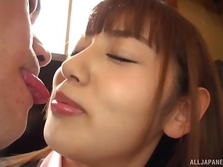 Petite Japanese Misaki Kanna gives head and gets penetrated