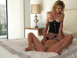Mommy shares the bed with her slutty lesbian little one