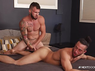 Gay lovers fuck in the matter of crazy scenes and swallow commonly of sperm