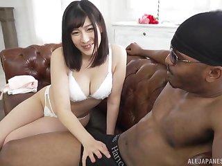 Cum eating Japanese whore Otomi Rina fucked by a large black gumshoe